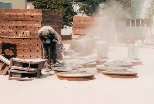Mobile sand blasting specialist while working
