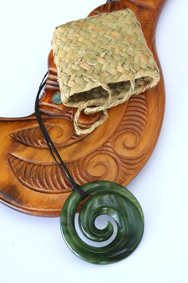Koru necklace with woven kite bag