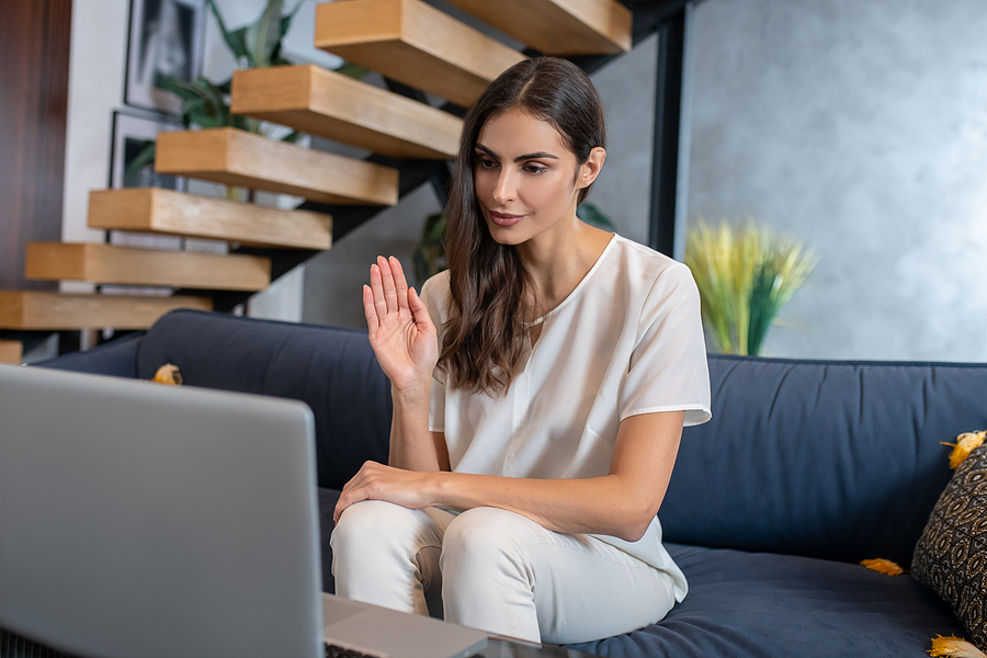 Woman meeting an  online mindfulness coach during her session